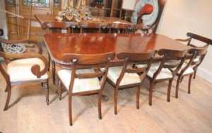 10 William IV Chaises Chippendale Dining Table Set Suite