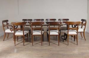10 m anglais Regency Table de salle à manger et 10 chaises Set président