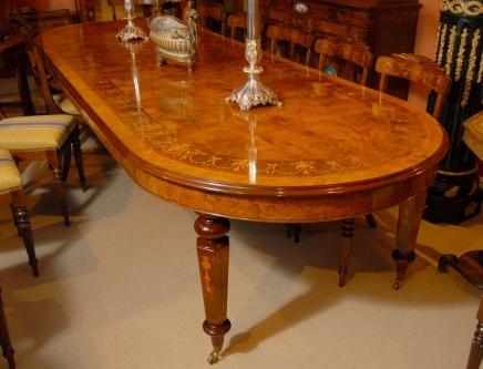 12 pieds italien Marqueterie Table extensible à manger