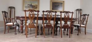 14 pieds anglais victorien à manger table et chaises Chippendale gothique Set