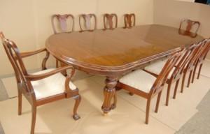 14 pieds victorienne Dining Table & 10 présidents de la Reine Anne