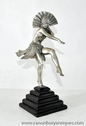 1920 Français Art Déco Argent Bronze Dancer Statue Figurine aileron