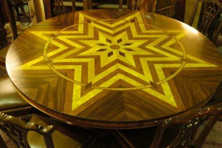 6ft Art déco marqueterie Table ronde de salle à manger Tables
