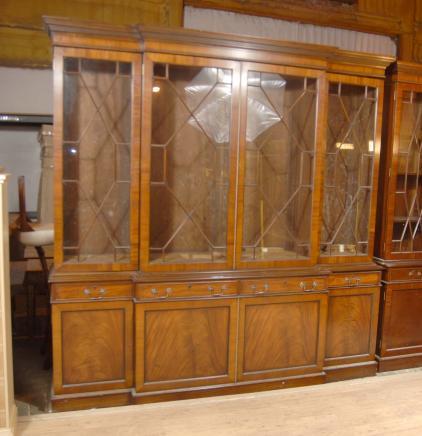 8 pi Anglais Noyer George II Breakfront Bibliothèque Case livre