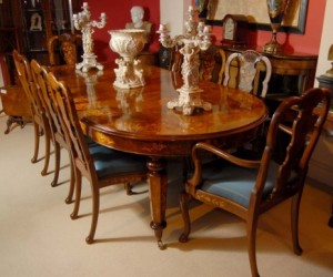 8 pieds Marqueterie italien Table à manger 8 chaises Queen Anne