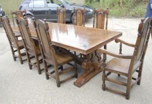 9 pi français rustique Réfectoire Table & William Marie Chaises de salle à dîner
