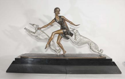 Art Déco Barzoï chien Figurine Bronze Lormier