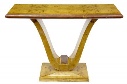 Art Déco Blonde Noyer Table console meubles rétro