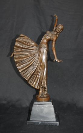 Art Déco Chiparus Bronze Figurine Dancer Signée