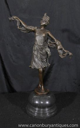 Art Déco Exotic Dancer Figurine Bronze Signé Colinet