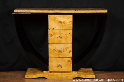 Art Déco Table console Commode tiroirs intérieurs Meubles