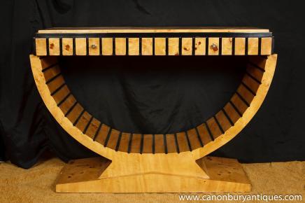 Art Déco Table console Meubles Style des années 1920 Blonde Noyer