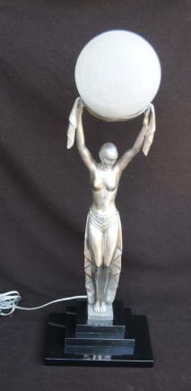 Art Deco Bronze Figurine Statue lampe lumière