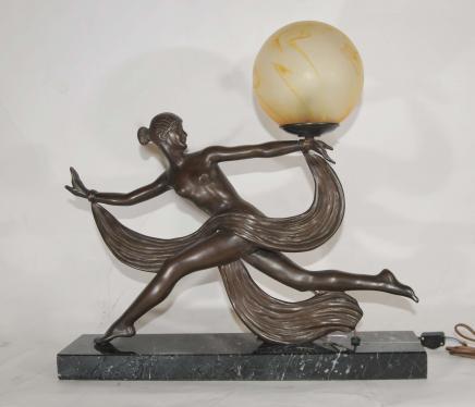 Art Deco Bronze Figurine lampe Signé 1920 Ouline