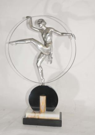 Art Deco Bronze Hoop Dancer Signé Limouin