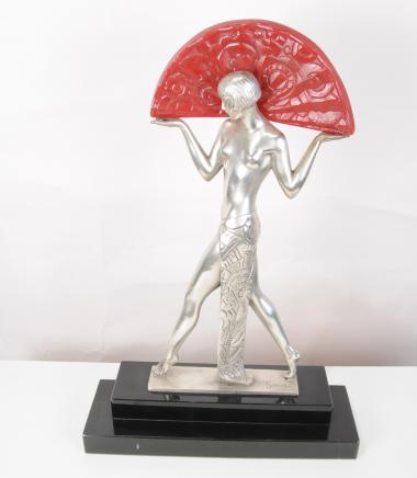 Art déco français Table Lamp Light Semi Nude Statue Figurine
