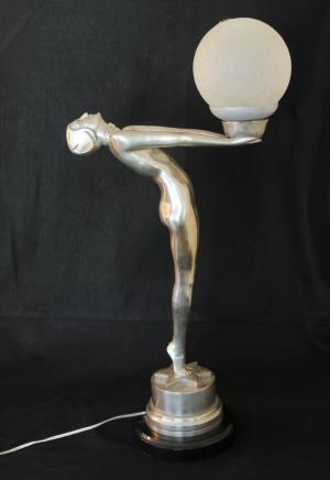 Bronze Art Déco Figurine Biba Lampe Statue Lumière chic français