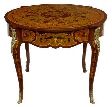 Centre Louis XV rond Meubles Table incrustation de marqueterie français
