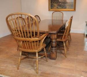 Chêne Réfectoire Table Windsor président Ferme Set de cuisine