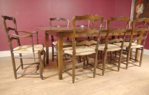 Chêne pédonculé Ladderback président et Réfectoire Set de table à manger