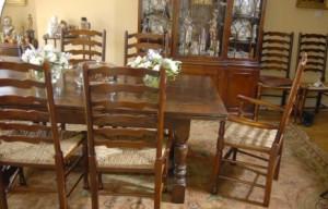 Chêne pédonculé Réfectoire Table & Ladderback président Dining Set