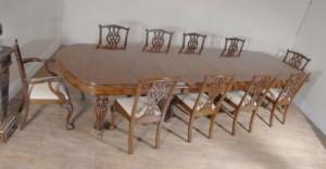 Chaises XL Anglais Acajou Table de salle à manger Victorienne & Set Chippendale