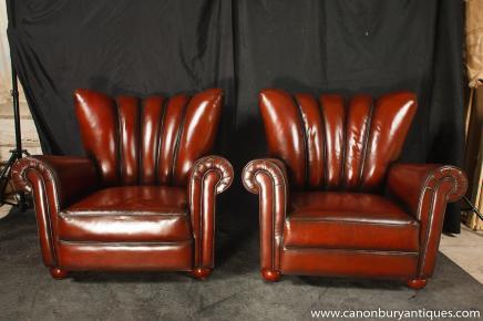 Chaises paire Art Déco bras Masquer canapé en cuir Sièges