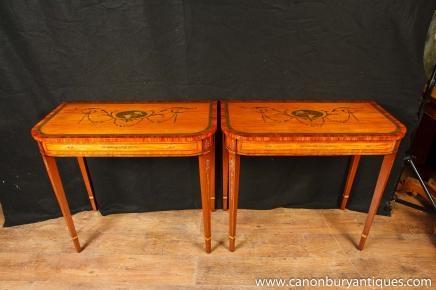 Deux tableaux peints console Sheraton Tableau hall Regency Instruments de musique