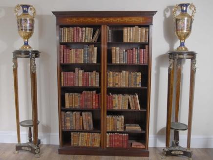 Double Anglais Acajou Sheraton Inlay Open Front Bibliothèque