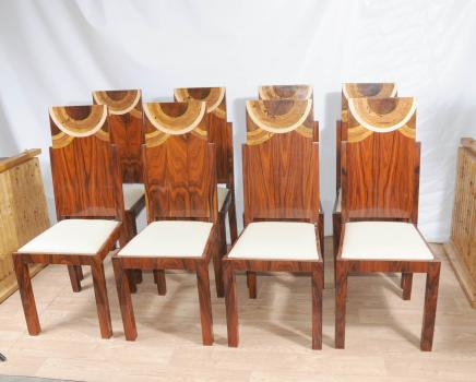 ensemble art d co chaise marqueterie 1920 chaise mobilier. Black Bedroom Furniture Sets. Home Design Ideas