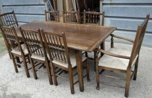 Ferme Réfectoire Table & Set 8 Spindleback Chaises Ensemble de cuisine
