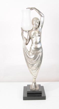 Français Art déco Lampe de table féminin Odalisque Figurine Statue Lumières