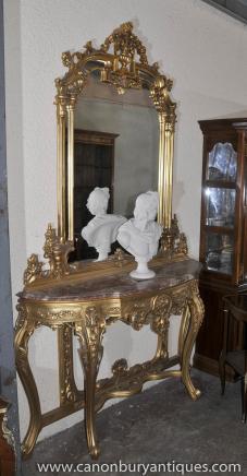 Français Empire doré Console Table et miroir Set Demi Lune tableaux