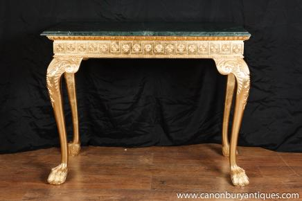 George II doré Console Table sculptée en marbre Top