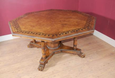 George III octogonale Oak Centre de Table à manger marqueterie