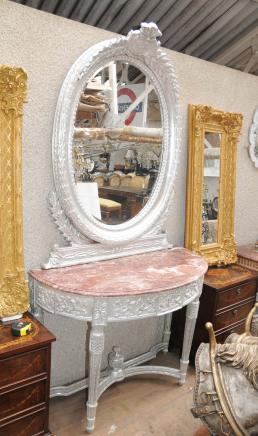 Gilt anglais Rococo Console Table Mirror Set
