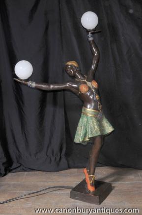Grand français Bronze Art Deco danseur de lampe de lumière Figurine Statue