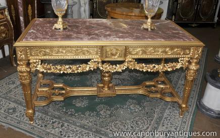 Italiennes bois sculpté et doré néoclassique Tables Table console hall