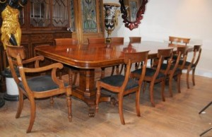 Noyer Regency Dining Table et chaises Set Suite