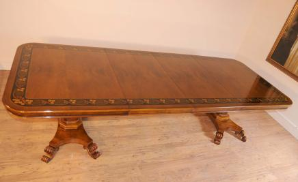 Noyer marqueterie Regency Pedestal Table à manger de 10 pieds