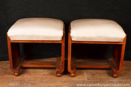 Paire Art Déco Tabourets Tabouret 1920 Chair Seat Meubles
