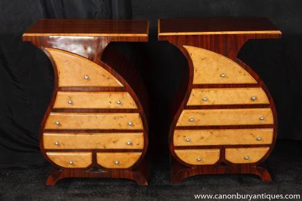 Paire Art Déco Tear chevet Commode tiroirs Tables de chevet