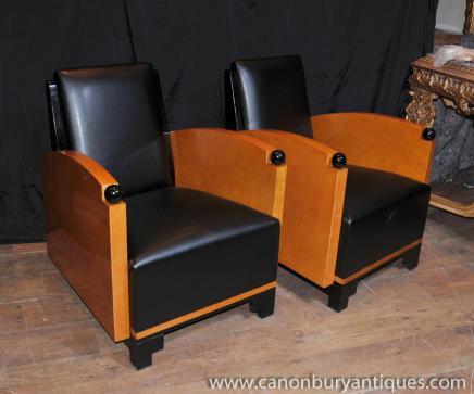 Paire Art Déco club Chaises fauteuils Biedermeier Sofa