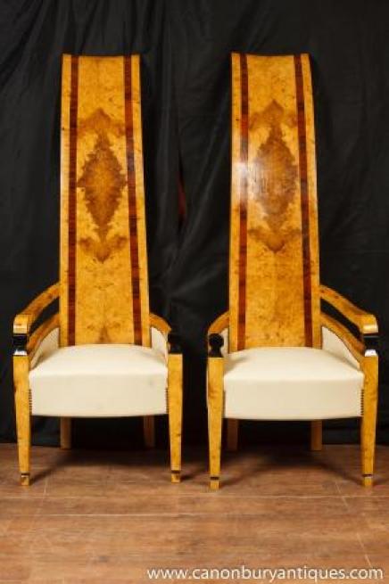 Paire Art Déco fauteuils à haut dossier Fauteuil Club Seat