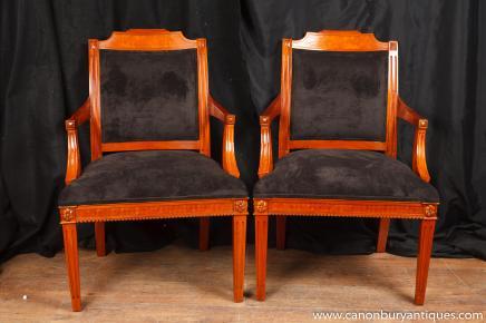 Paire Art Déco fauteuils Beidermeier président fauteil