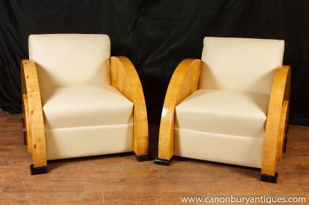 Paire Art Déco fauteuils club Blonde Noyer 1920 de sécurité Meubles