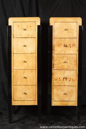 Paire Art Deco Commode Tiroirs Tall Boy Cabinets 1920 Meubles