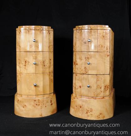 Paire Art déco Noyer chevet coffres tiroirs Tables de chevet de pli