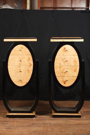 Paire Art déco tables hautes chevet pied secondaires coffres