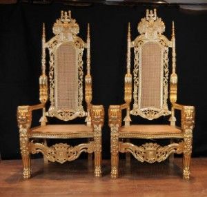 Paire Gilt XL George II Thrones fauteuils Sièges Fauteuils